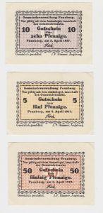 5, 10 & 50 Pfennig Banknoten Notgeld Gemeinde Penzberg 5.April 1917 (133188)