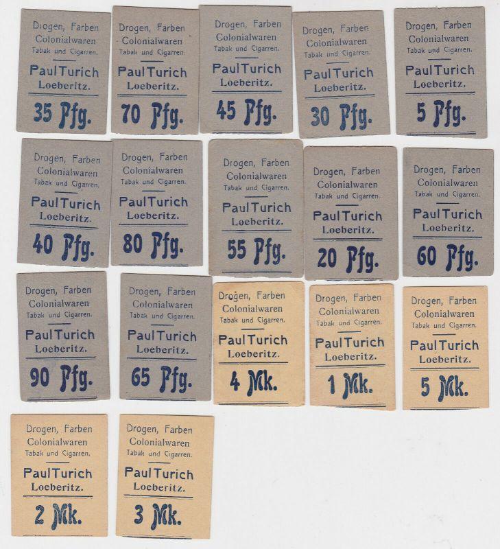17 Banknoten Löberitz Paul Turich, Drogen, Farben, Kolonialwaren o.D. (132144)
