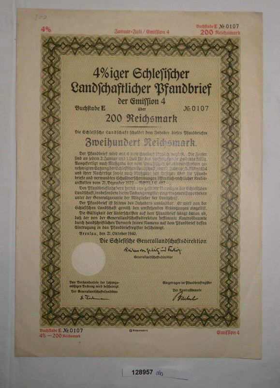200 RM Pfandbrief Schlesische Landschaftsdirektion Breslau 21.Okt. 1940 (128957)