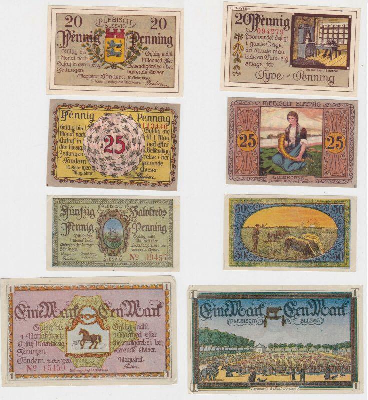 20, 25, 50 & 100 Pfennig Banknoten Notgeld Stadt Tondern 1920 (132411)