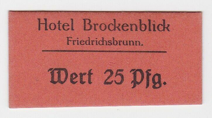 25 Pfennig Wert Banknote Hotel Brockenblick Friedrichsbrunn ohne Datum (131601)