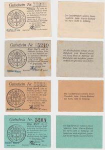 0,5, 1, 2 & 3 Mark Banknoten Notgeld Sparkasse Brühl 14.August 1914 (132647)
