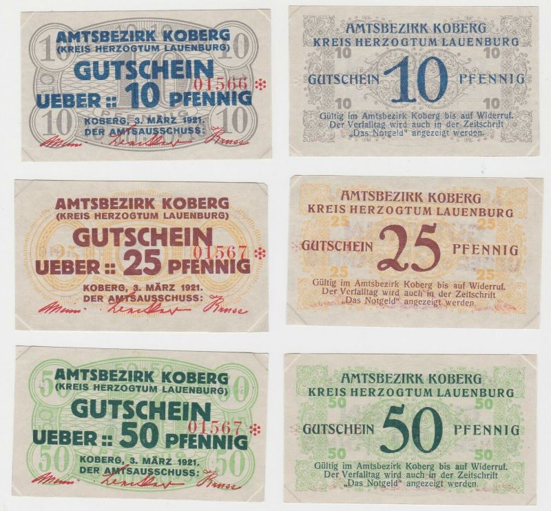 3 Banknoten Notgeld Amtsbezirk Koberg 1921 (133153)