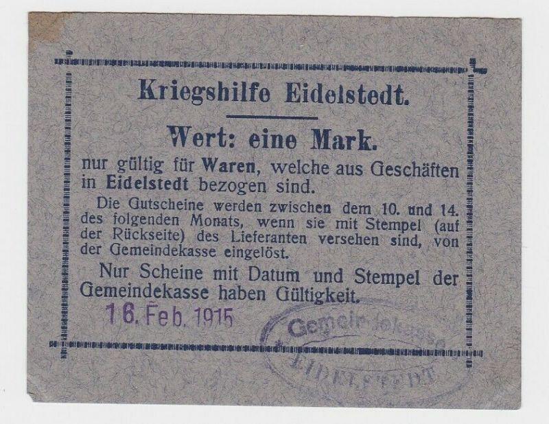1 Mark Banknoten Kriegshilfe Eidelstedt 18.April 1916 (132813)