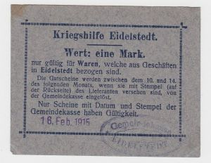 1 Mark Banknoten Kriegshilfe Eidelstedt 18.April 1916 (132813)
