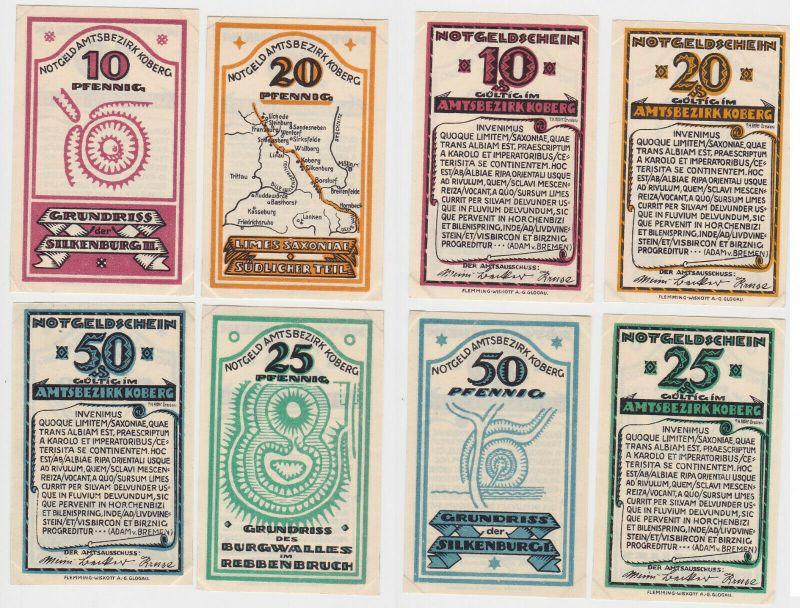 4 Banknoten Notgeld Amtsbezirk Koberg 1921 (131790)