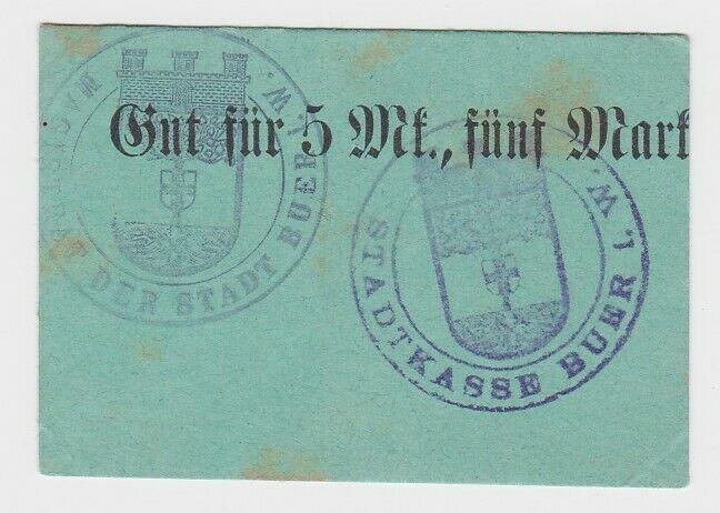 5 Mark Banknote Notgeld Stadtkasse Buer i.W. ohne Datum (132428)