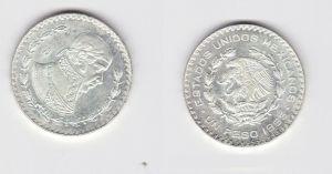 1 Peso Silber Münze Mexiko 1965 vz (131585)