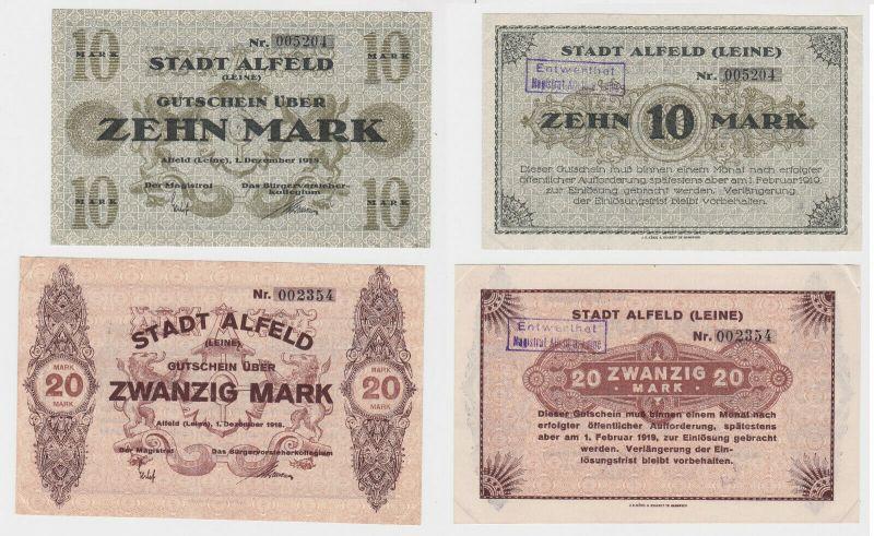 10 & 20 Mark Banknoten Notgeld Stadt Alfeld (Leine) 1.Dezember 1918 (133064)