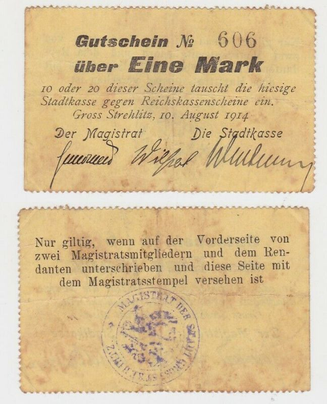 1 Mark Banknote Notgeld Stadtkasse Gross Strehlitz 10.August 1914 (132687)