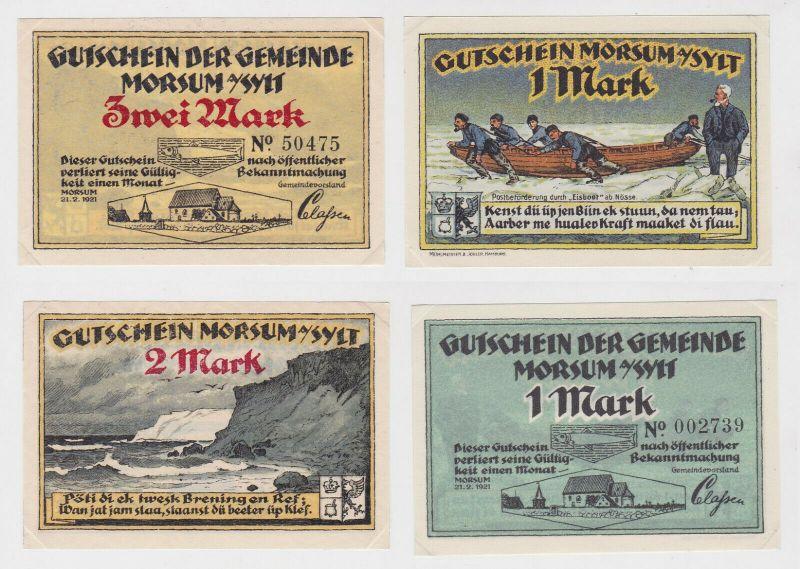 1 & 2 Mark Banknote Notgeld Gemeinde Archsum auf Sylt 1921 (133192)