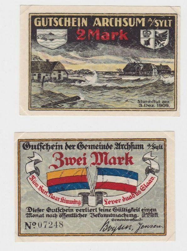 2 Mark Banknote Notgeld Gemeinde Archsum auf Sylt 1921 (131940)