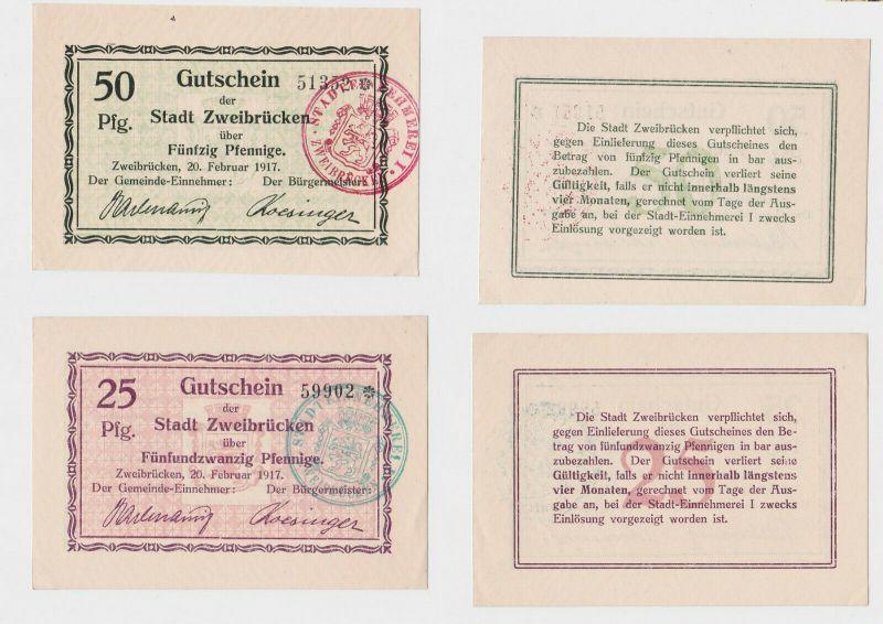 25 & 50 Pfennig Banknoten Notgeld Stadt Zweibrücken 1917  (133178)