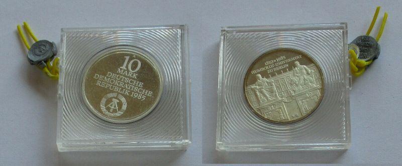 DDR Gedenk Münze 10 Mark Humboldt Universität 1985 Silber PP (132263)