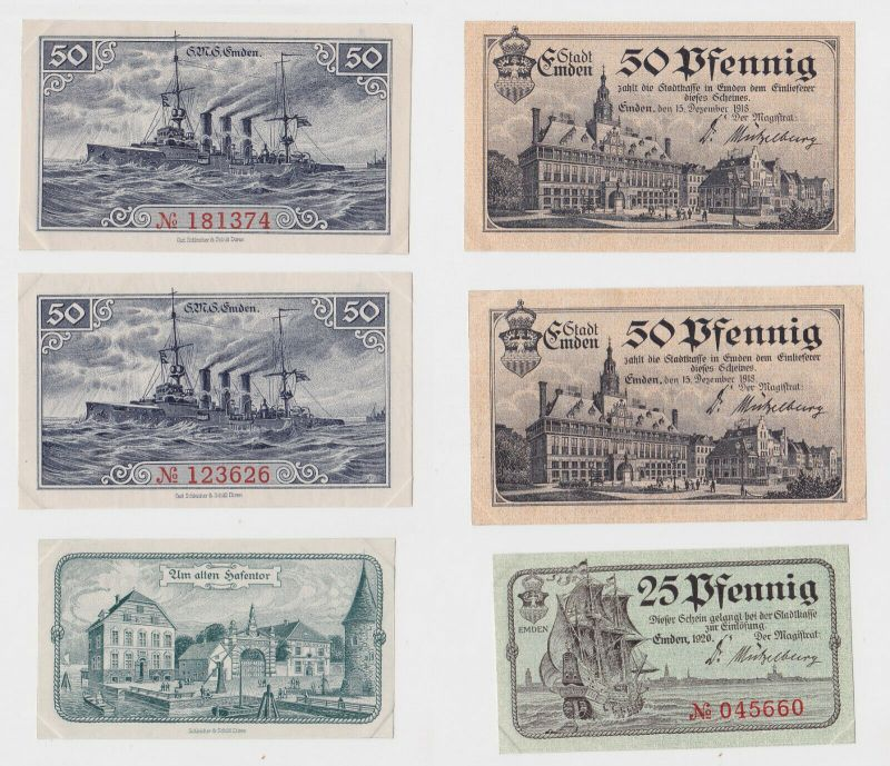25 & 2 x 50 Pfennig Banknoten Notgeld Stadt Emden 1918  (132955)