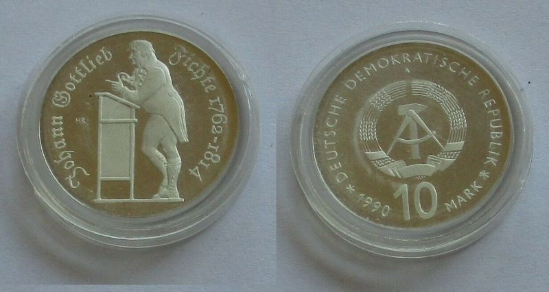 DDR Gedenk Silber Münze 10 Mark Johann Gottlieb Fichte 1990 PP (131795)