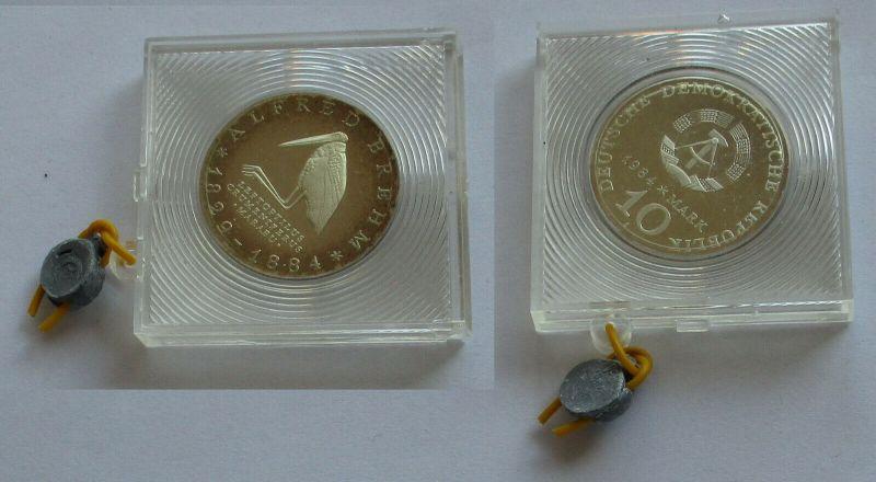 DDR Gedenk Münze 10 Mark Alfred Brehm 1984 PP (131852)