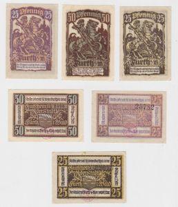 2 x 25 & 50 Pfennig Banknoten Notgeld Stadt Furth i.W. 1921 (132456)