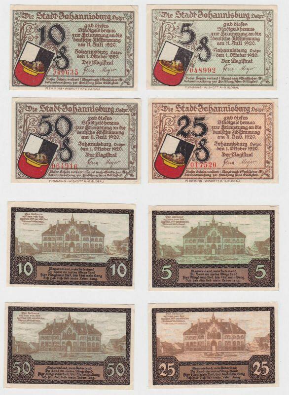 5, 10, 25 & 50 Pfennig Banknoten Notgeld Stadt Johannisburg Ostpr. 1920 (133135)