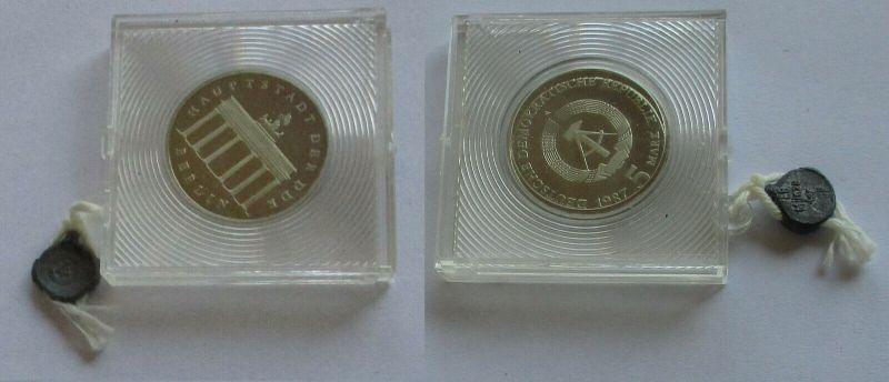 DDR Gedenk Münze 5 Mark Brandenburger Tor 1987 PP (132108)