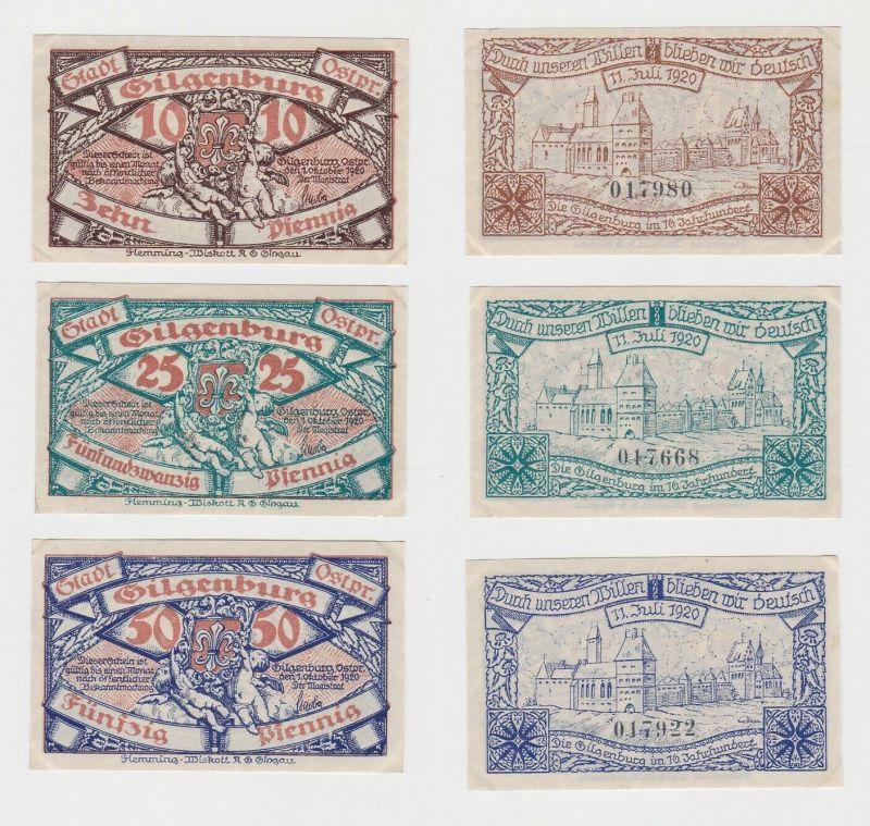 10, 25 & 50 Pfennig Banknoten Notgeld Stadt Gilgenburg Ostpreußen 1920 (131775)