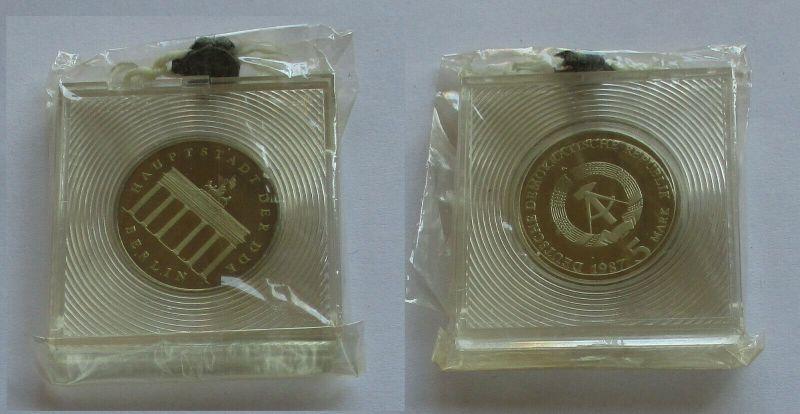 DDR Gedenk Münze 5 Mark Brandenburger Tor 1987 PP (131625)