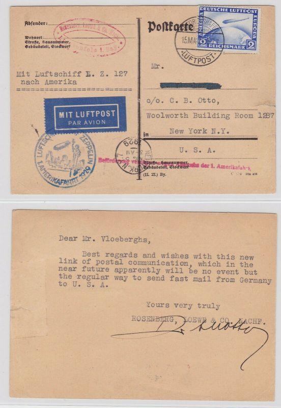 Zeppelin Postkarte 1.Amerikafahrt 1929 mit Michel 423Y (125964)