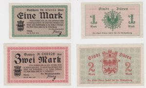 1 & 2 Mark Banknoten Notgeld Stadt Düren 20.November 1918 (132652)
