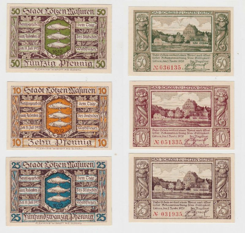 10, 25 & 50 Pfennig Banknoten Notgeld Stadt Lötzen Masuren 1920 (132432)