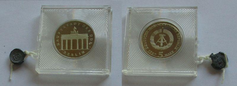DDR Gedenk Münze 5 Mark Brandenburger Tor 1987 PP (132242)