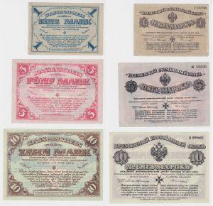 1,5 & 10 Mark Banknoten Mitau freiwillige Westarmee 10.10.1919 (132944)