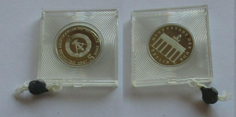 DDR Gedenk Münze 5 Mark Brandenburger Tor 1987 PP (131705)