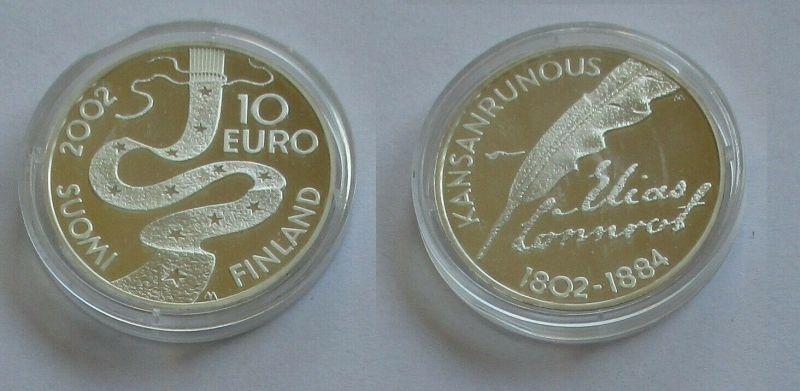 10 Euro Silbermünze Suomi Finnland Elias Lönnrot 2002 PP (132269)