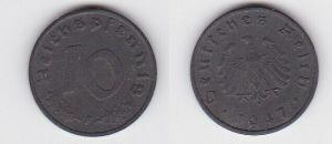 10 Reichspfennig Zink Münze 3.Reich 1947 F Jäger 375 (130124)