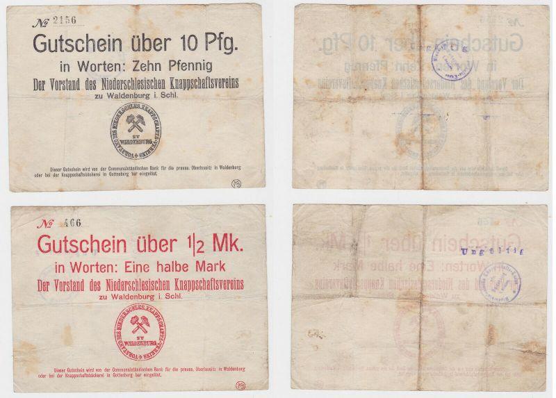 10 & 50 Pfennig Banknoten Notgeld Waldenburg in Schlesien (132165)