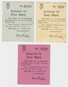 1, 2 & 3 Mark Banknoten Notgeld Sparkasse Sterkrade 1914 (132811)