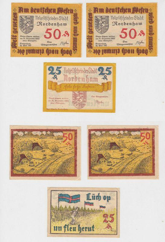 25 & 2 x 50 Pfennig Banknoten Notgeld Stadt Nordenham 1921 (132823)