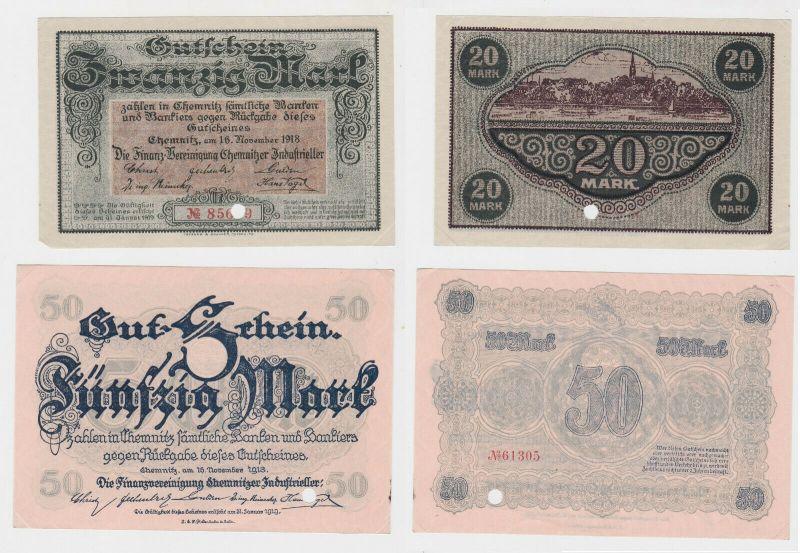 20 & 50 Mark Banknoten Finanzvereinigung Chemnitzer Industrieller 1918 (132172)