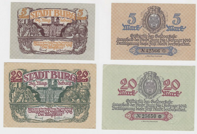5 und 20 Mark Banknoten Notgeld Stadt Burg 1.Dezember 1918 (132922)