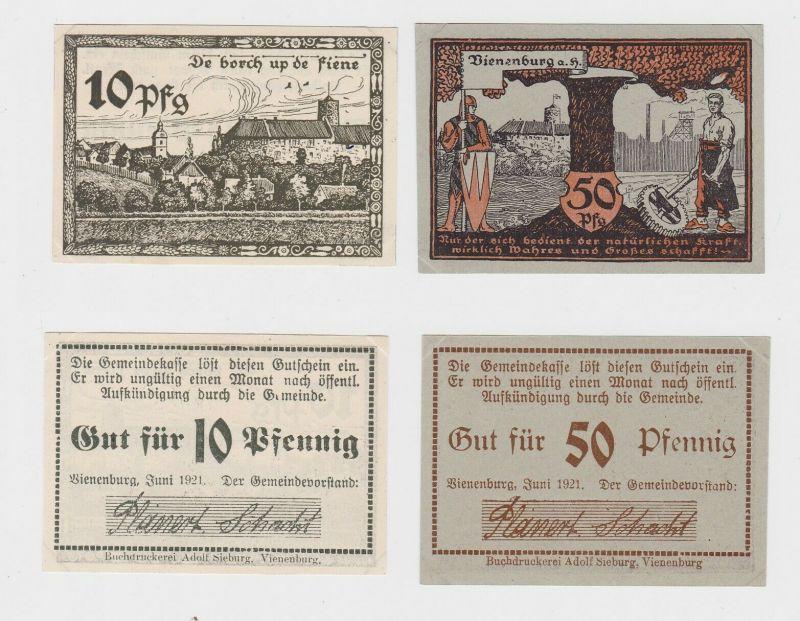 10 & 50 Pfennig Banknoten Notgeld Gemeinde Vienenburg Juni 1921 (132454)