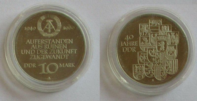 DDR Gedenk Münze 10 Mark 40.Jahrestag der DDR 1989 PP (131768)