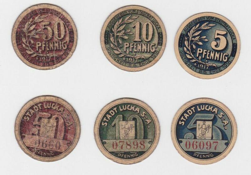 5, 10 & 50 Pfennig Banknoten Notgeld Stadt Lucka S.-A. 1917  (133077)