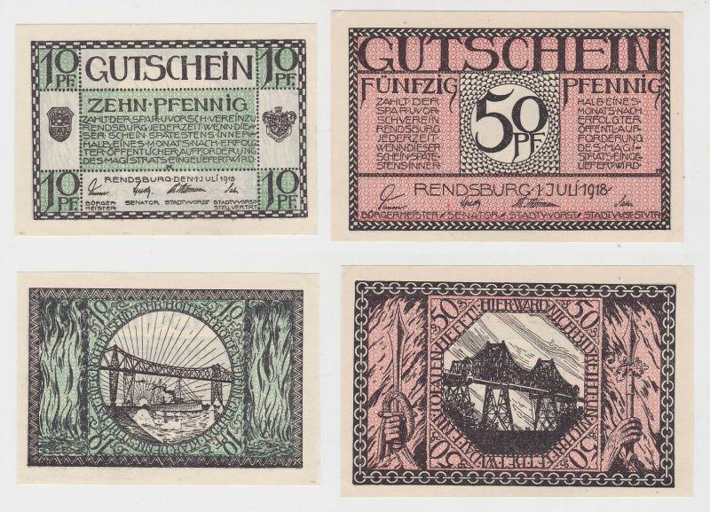 10 & 50 Pfennig Banknoten Notgeld Stadt Rendsburg 1.Juli 1918 (132953)