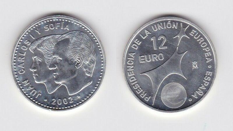 12 Euro Silbermünze Spanien Juan Carlos & Sofia EU Präsidentschaft 2002 (131864)