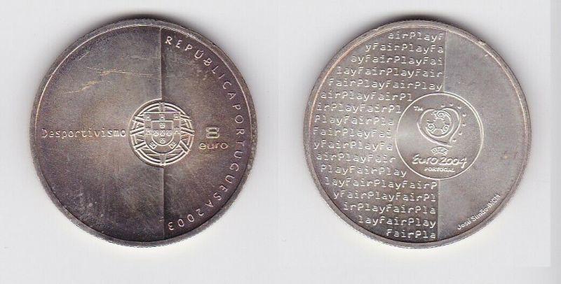 8 Euro Silbermünze 2003 Stempelglanz Portugal Fifa Fußball WM (130479)