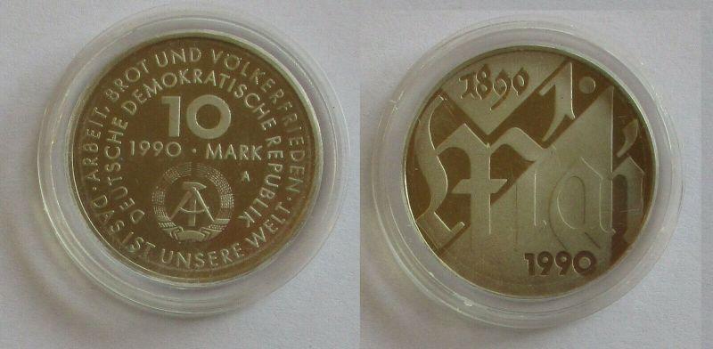DDR Gedenk Münze 10 Mark 100.Jahre 1.Mai Feiertag 1990 PP (131936)