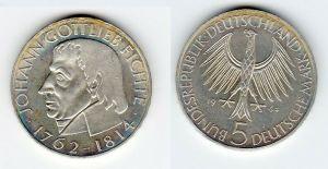 5 Mark Silber Münze Deutschland Johann Gottlieb Fichte 1964 J (129456)