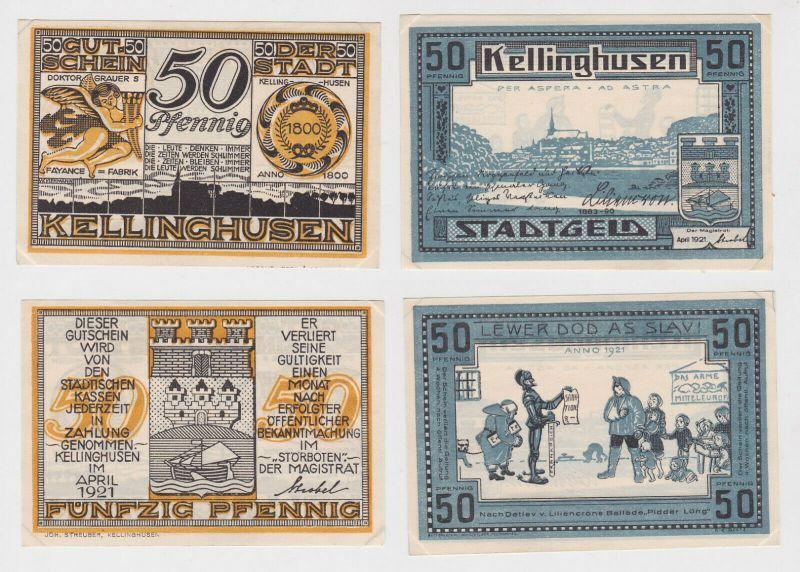 2 x 50 Pfennig Banknoten Notgeld Stadt Kellinghusen 1921 (132422)