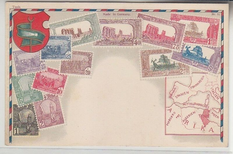 03120 Wappen Ak Tunesien Tunisie mit Briefmarken um 1900