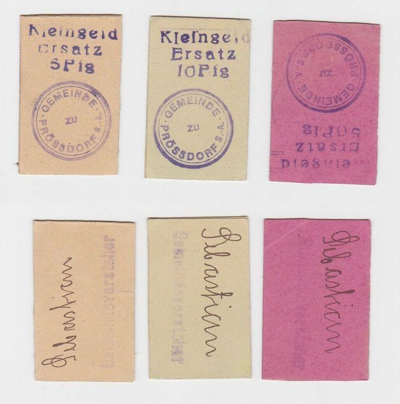 5, 10 & 50 Pfennig Banknote Notgeld Gemeinde Prössdorf  ohne Datum (132692)